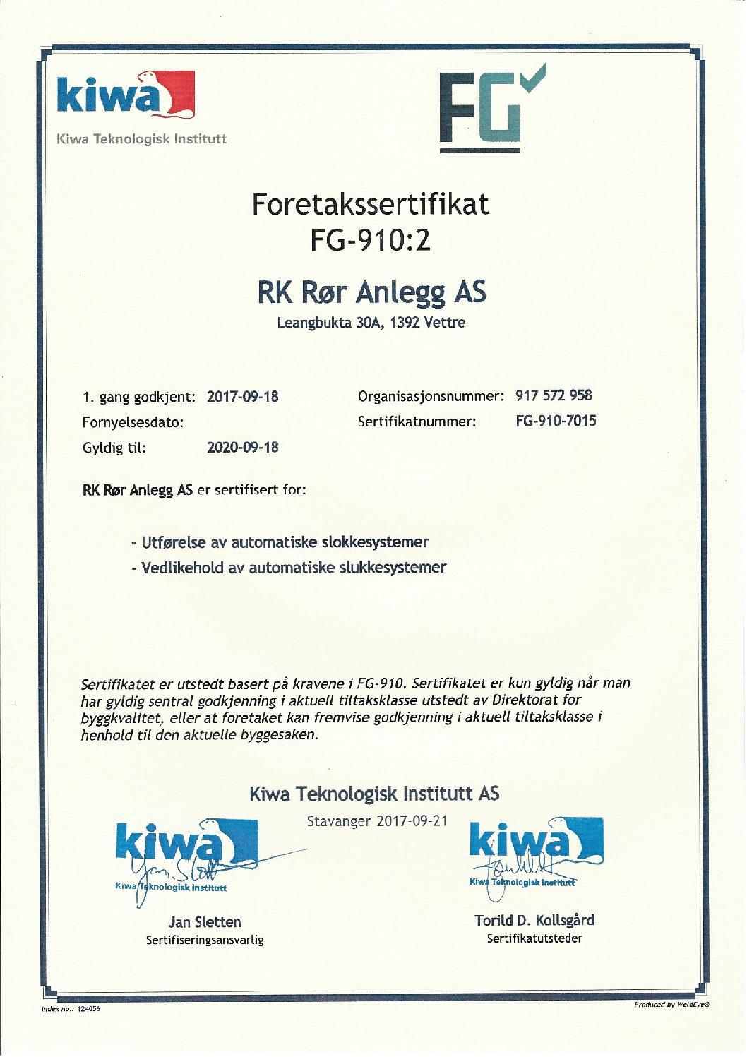 sertifikat FG ANLEGG